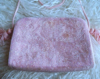 Pink Beaded Vintage Handbag