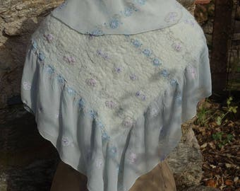 Embroidered and felted silk chiffon shawl