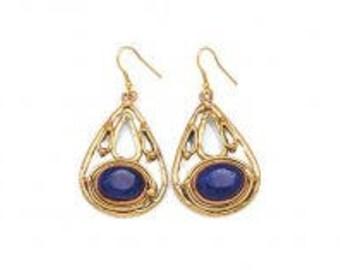 Blue Stone Earrings, Copper Brass Earrings, Nickel Free Earrings, Handmade, Boho Chic