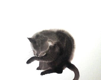 Animal series black cat I / / Sumie Japanese ink painting