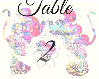 Mickey and Minnie Painted Wedding Table Numbers Set of 10