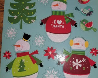 14 pc Snowmen with Birds Christmas Magnets,Fridge Magnets, Refrigerator Magnets