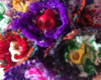 Harris tweed skull flower corsage
