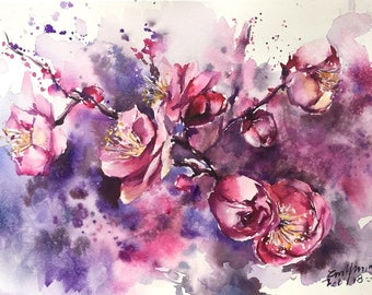 PlumBlossomFlowersWallDecorOriginalWatercolourPainting