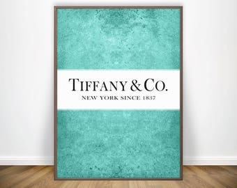 Tiffany and Co Decorations Fashion Illustration Audrey Hepburn Breakfast At Tiffanys Decor Tiffany Blue Prints Cyan Art Aqua Blue and White