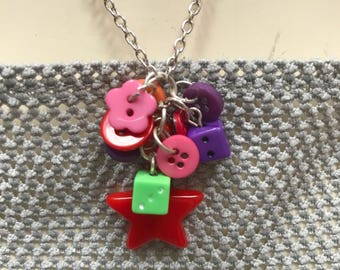 Charm cluster necklace