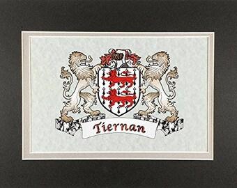 "Tiernan Irish Coat of Arms Print - Frameable 9"" x 12"""