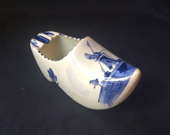 Delft Blue Holland Clog Shoe Hand Painted Windmill Ashtray