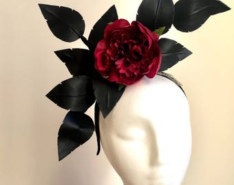 Black & Burgundy Fascinator