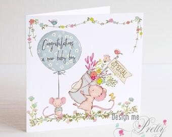 Cute little Mice New Baby boy Card