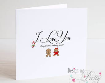Gingerbread Couple - I Love You Christmas Card