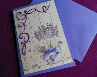 Card embroidered snags and small bow