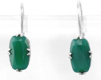 Art Deco Style Green Onyx Lever Back Sterling Earrings - Sterling Silver Filigree Green Onyx Lever back Dangle Earrings