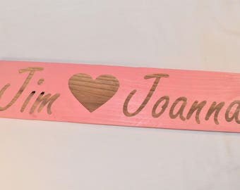 "Engraved ""Custom Name <3 "" Sign 