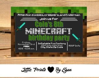 Minecraft Invites Etsy