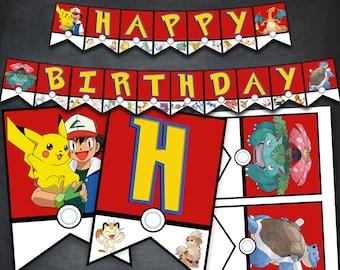 Pokemon Banner, Pokemon Birthday Banner, Pokemon Party, Pokemon Printables, Pikachu Banner, Happy Birthday Banner, Digital, Instant Download