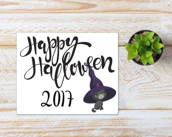 Halloween Printable / Happy Halloween 2017 Cat/ Ready to Print Digital Download / Size 8x10 300 DPI / Halloween Wall Art and Printable