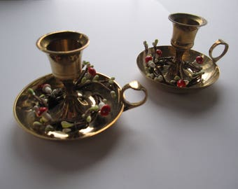 Pair Vintage Brass Candle Holders