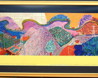 David Hockney 1980 LACMA Continuous-tone Lithography Mulholland Drive: The Road To The Studio - Collector's item
