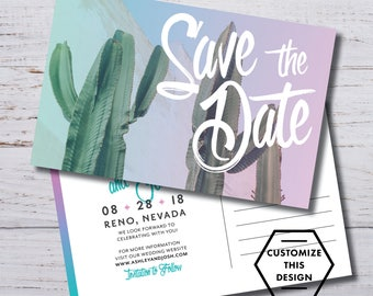 CACTUS / Cactus Save the Date / Modern Save the Date / Postcard Save the Date / Save the Date Postcard / Desert Save the Date / STD