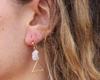 Rose quartz triangle earrings