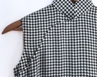 Houndstooth Silk Midi Dress