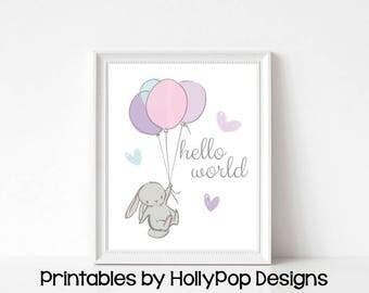 Baby girl art Printable nursery prints Bunny with balloon Cute bunny rabbit print Pink purple nursery art Animal nursery art print #1852
