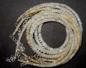 Natural Ethiopian opal Smooth roundel beads 4 -5 MM Size Super Finest Quality White opal Beads Necklace In reasonable price