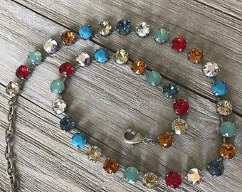 "Genuine Swarovski Crystal Necklace, Antique Silver Chain, ""Celebrate"""