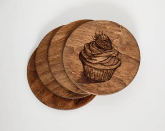 Personalized coaster set Custom wood coaster set Engraved coasters Cupcake coaster set Wood engraved coaster set