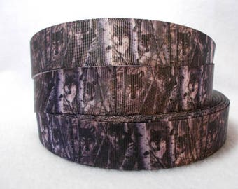 "SALE Wolf in The Woods on 7/8"" Grosgrain Ribbon by the yard. Choose 3/5/10 yards. Black, white & gray. Forest, Camo"