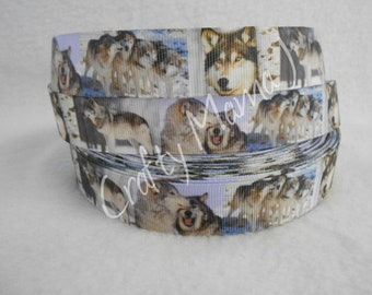 "Snow Wolf on 7/8"" Grosgrain Ribbon by the yard. Choose 3/5/10. Wolves"