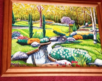 Reflection Park Pointilism Oil Painting 18x24, Oil Painting of a Flowering Park With Reflection Creek, Fine  Art Painting, Wall Decor