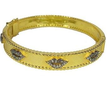 Bohemian style pave diamond sterling silver lips bracelet hinged bangle - PJ4101718