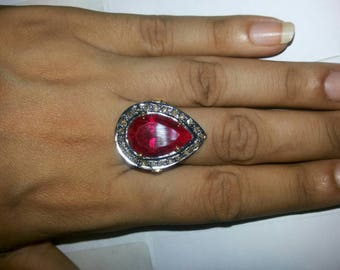 Victorian look 1. 30ctw rose cut diamonds ruby sterling silver drop shaped valentine's gift love ring