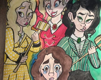 Original 18x24' Watercolor Painting of Heathers the Musical