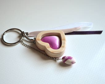 Keychain or GRI-GRI bag made of wood and polymer clay