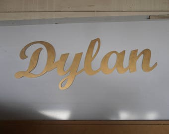 large name sign.. gold paint, decorate bedroom, family room