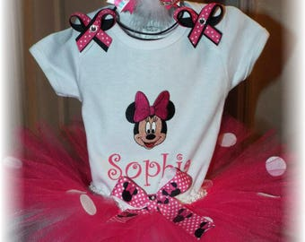 Minnie Mouse Tutu Set Personalized Birthday Halloween NB 0-3 3-6 6-9 12 24 months mth m mths