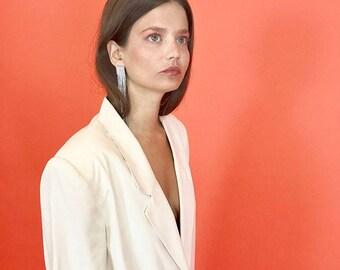 Silk off white blazer M/L