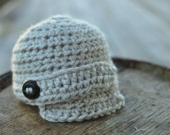 Crochet Baby Boy Newsboy Hat Beige