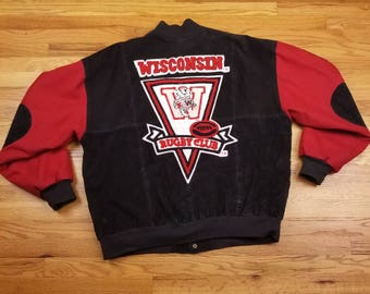Vintage 90s Wisconsin Badgers Rugby Bomber Leather Jacket Size 2XL