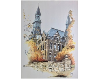 Park University LIMITED EDITION Pen and Ink and Watercolor Art Print Illustration - Graduation Gift, college, university