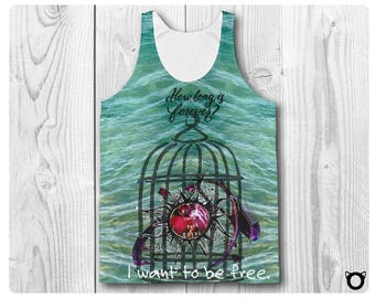 """Unisex Classic Fit Tank Top """"I Want To Be Free"""""""