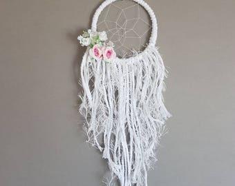 Small dreamcatcher, baby shower, pink dreamcatcher, wedding gift, pink dream catcher, nursery decor, boho decor, floral dreamcatcher, hippie