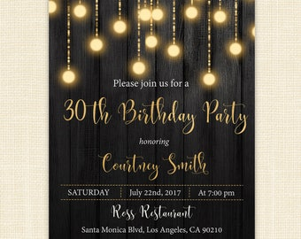 30th Birthday Invitation for her - Party Printable Invitation - Adult Birthday - 30th Gold Black - Digital or Printed #PI034G
