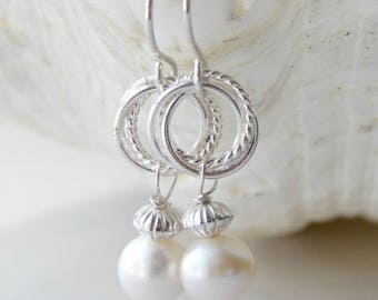 Sterling Silver Twisted Hoop and Freshwater Pearl Earrings. Pearl, Silver, Handmade