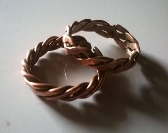Twisted Hammered Copper Rings