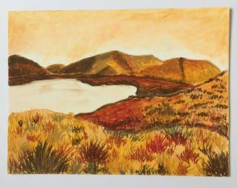 Original oil pastel landscape
