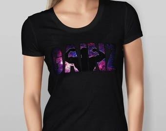 Womens Gainz Nebula Print - Black T-shirt